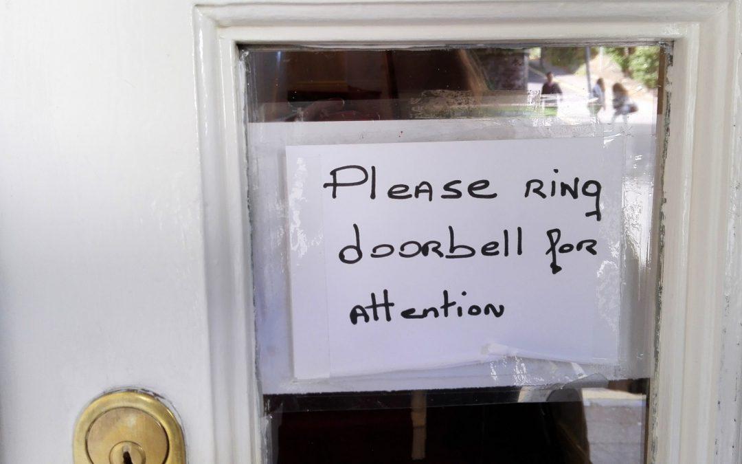 Ring doorbell for attention